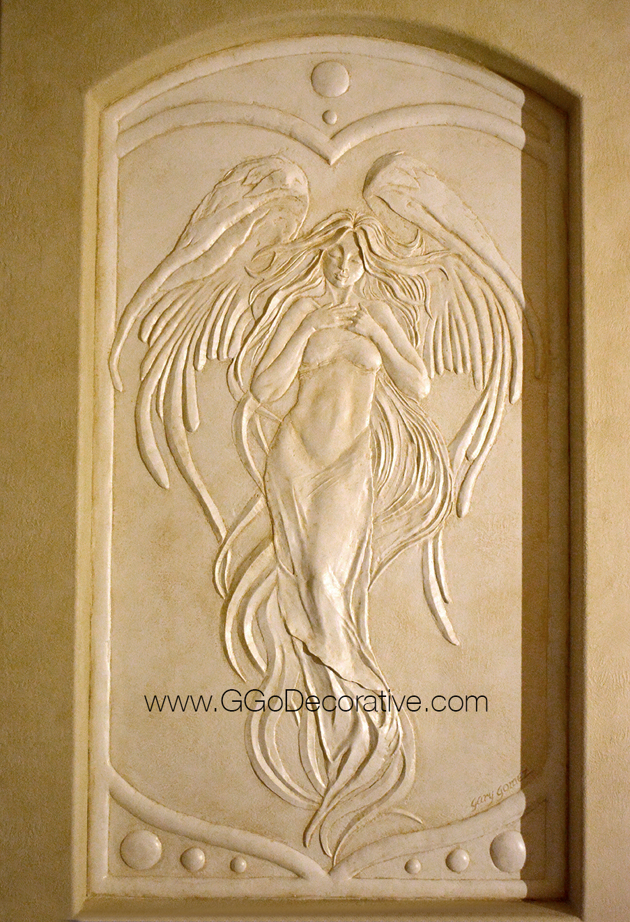 Angel Bas Relief Sculptural Mural Wall Art Project : G. Go Decorative