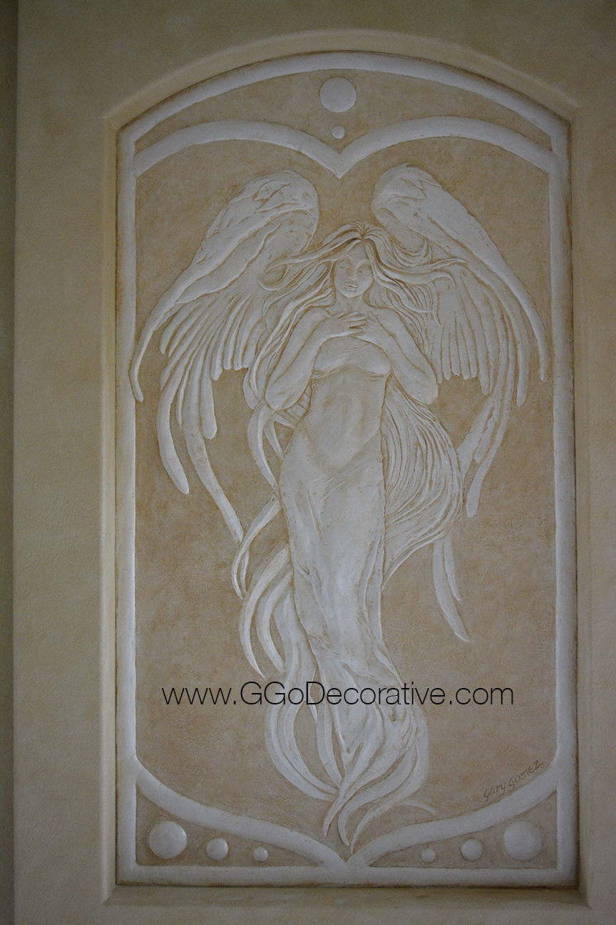 Angel bas relief sculptural mural wall art project g go for Angel wall mural