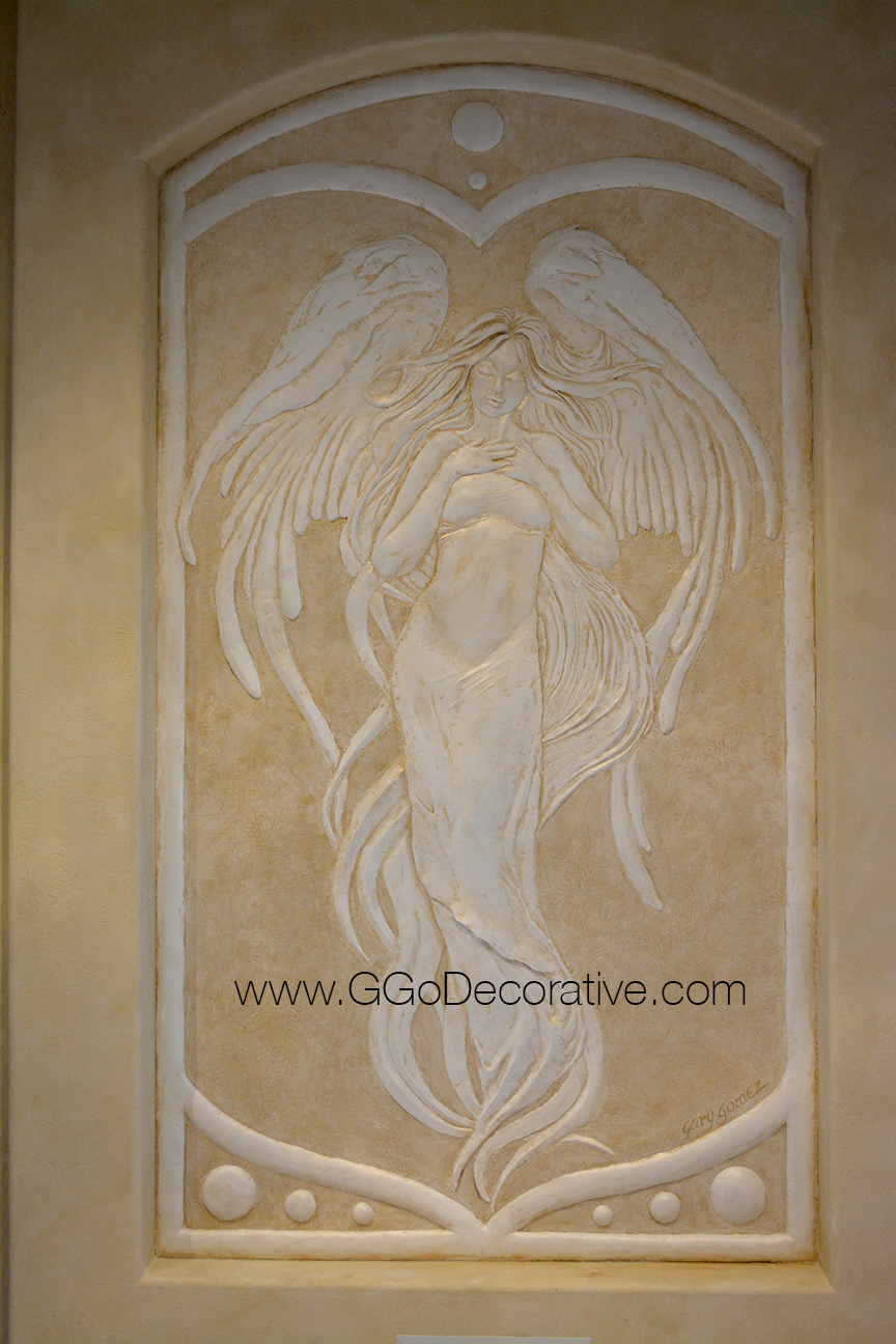 Angel Bas Relief Sculptural Mural Wall Art Project G Go