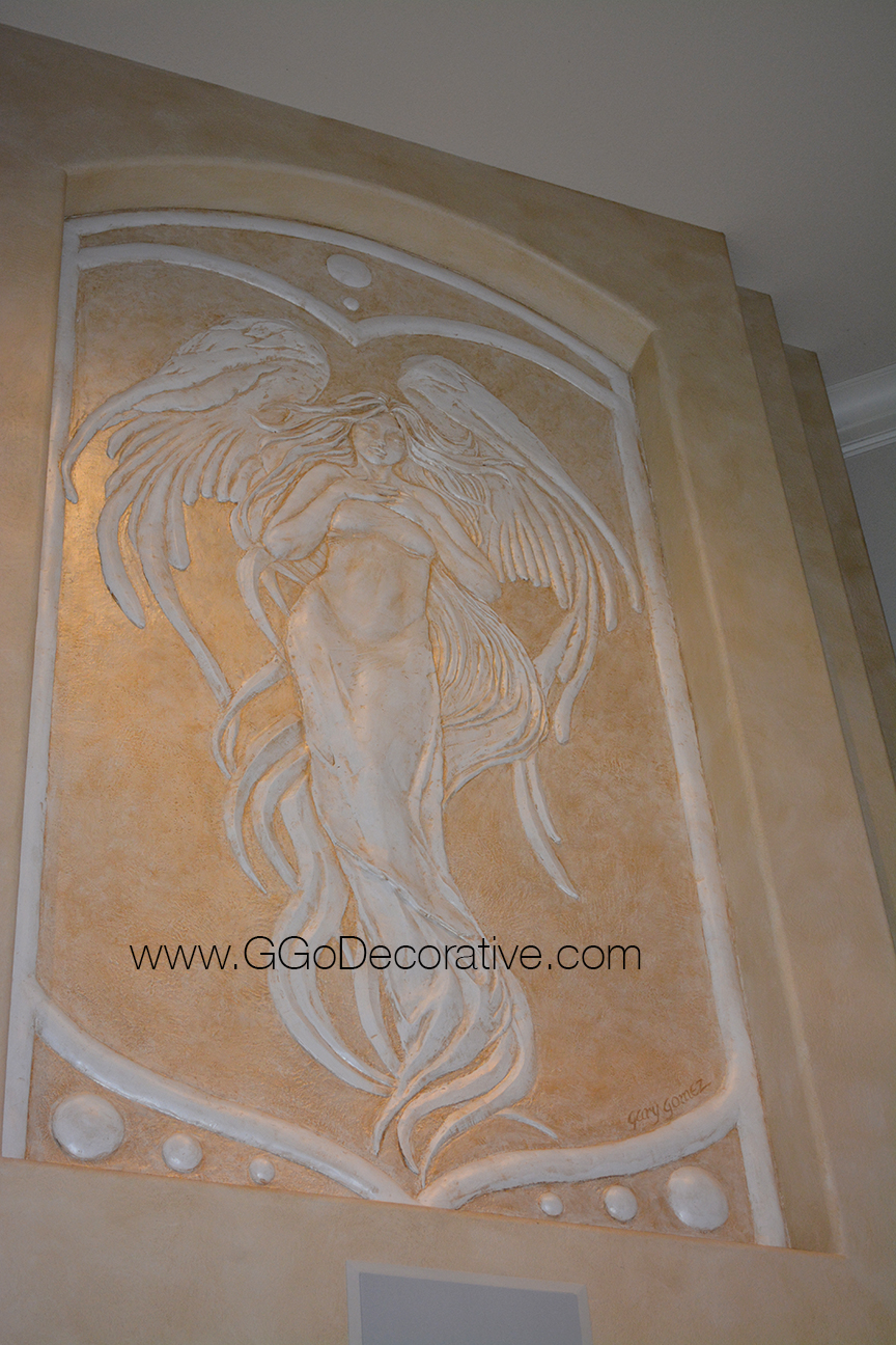 Angel bas relief sculptural mural wall art project g go for Bas relief mural