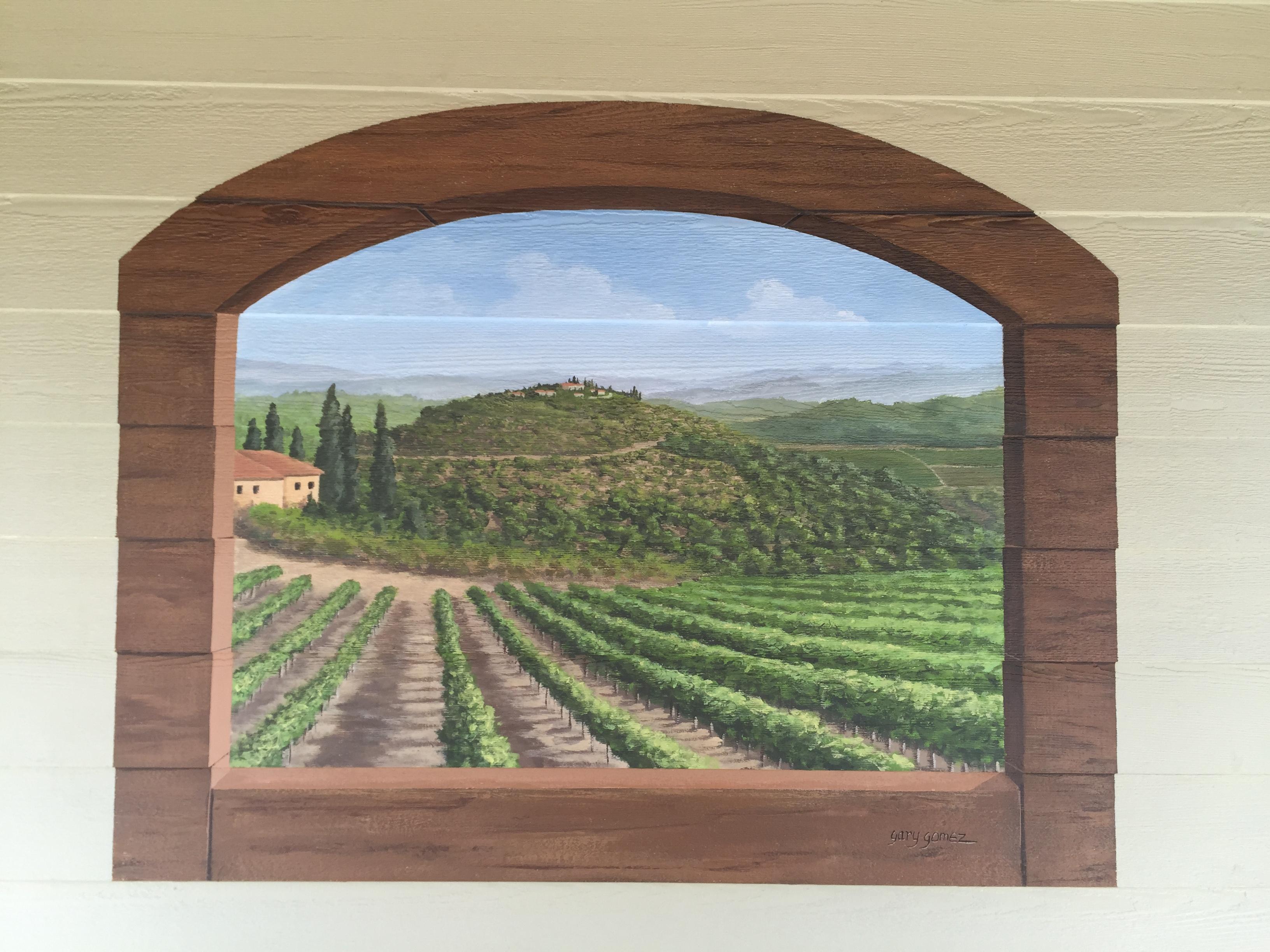 Tuscan Vineyard Windw Mural