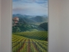 Tuscan vineyard mural with sky and clouds