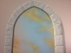 Trompe loeil window, sunset clouds