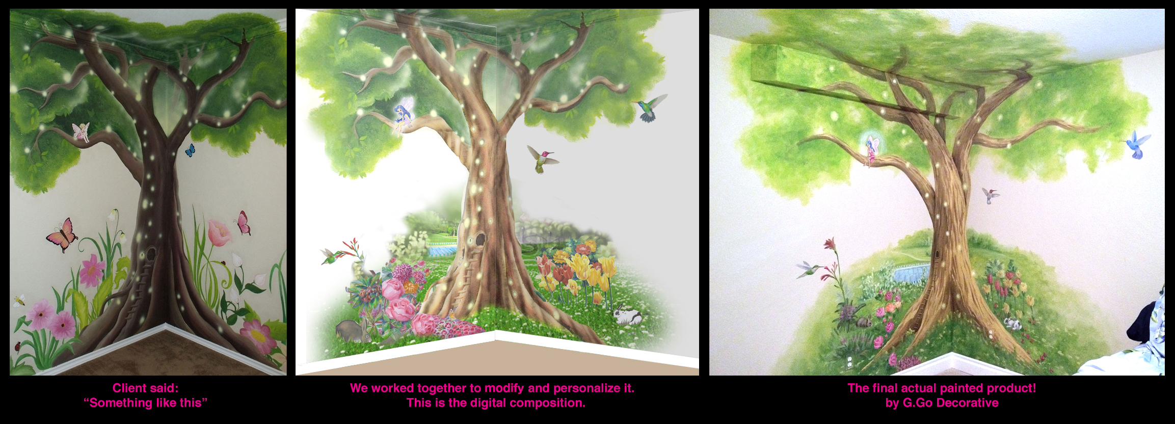 Fairy tree mural design g go decorative g go decorative for Fairy garden mural